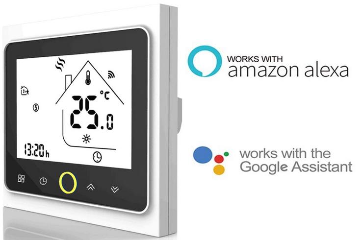 termostato inteligente para suelo radiante compatible con Alexa y Google assistant